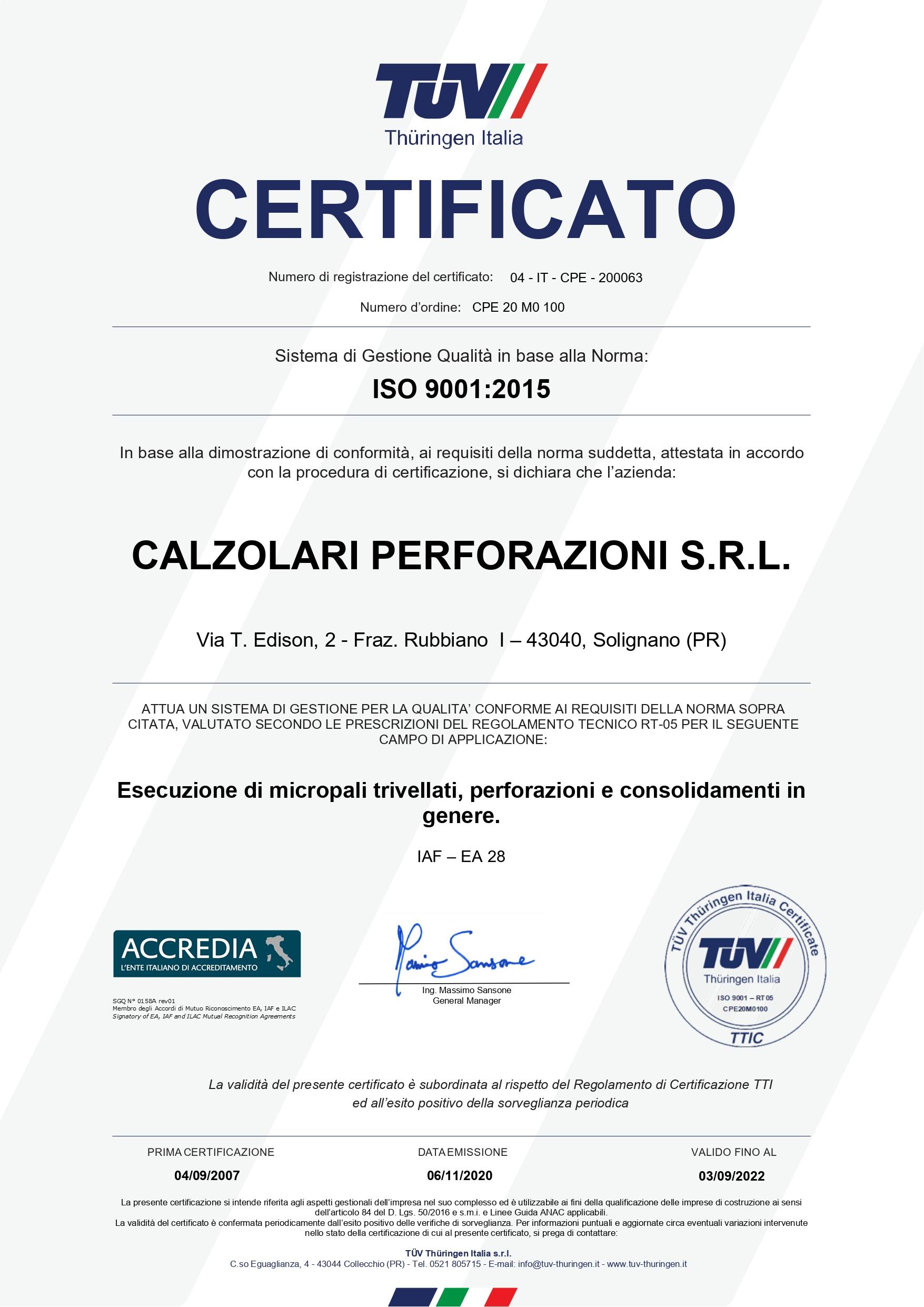 Calzolari Perforazioni - Certificato ISO9001